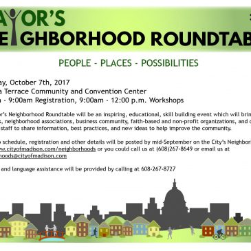 2017 Mayor's Neighborhood Roundtable – October 7th from 8am to 12pm