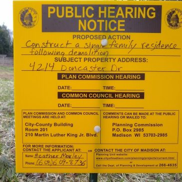 Public Hearings for construction of new houses at 4214 and 4216 Doncaster Dr.