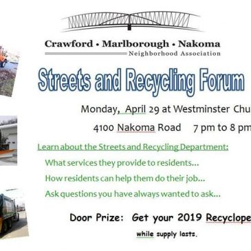 Streets and Recycling Forum – Monday, April 29 – 7pm