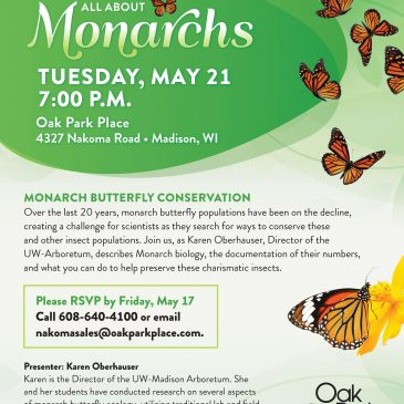 An Evening All About Monarchs – Tuesday, May 21, 7 p.m.