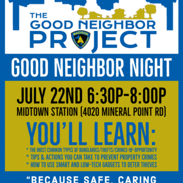 Good Neighbor Night – Monday, July 22, 2019 at 6:30 PM – 8 PM