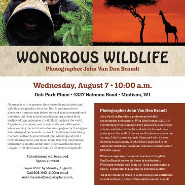 Wondrous Wildlife – Photographer John Van Den Brandt – Wednesday, August 7 – 10 a.m.