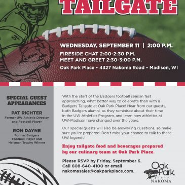 Indoor Badgers Tailgate – Wednesday, September 11 – 2:00 p.m.