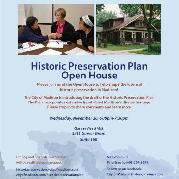 Historic Preservation Plan Open House – November 20