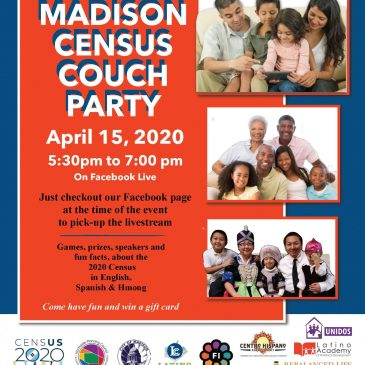 April 15th – Facebook Live Census Couch Party from 5:30 – 7:00 pm